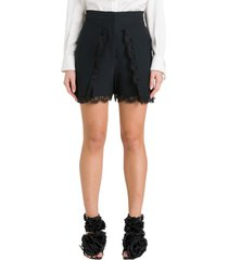 alexander mcqueen lace-trimmed high-rise crepe shorts