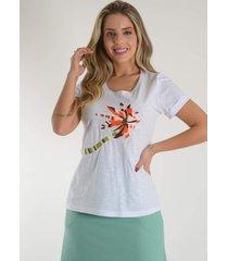 blusa mamorena t-shirt bordada linha branco - branco - feminino - dafiti