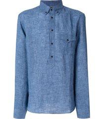 brunello cucinelli western pocket longsleeved shirt - blue
