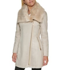 calvin klein asymmetrical faux-suede coat