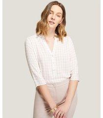 blusa cuello mao con botones estampada