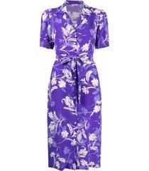 p.a.r.o.s.h. floral-print camp collar dress - purple