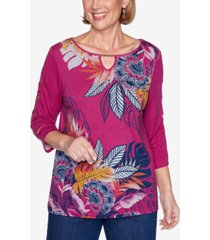 alfred dunner three quarter sleeve tropical batik print knit top