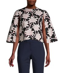 floral cape-sleeve shirt