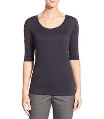 women's boss scoop neck stretch jersey top, size xx-large - black