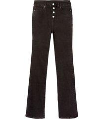 bootcut jeans med hög midja och synlig knäppning