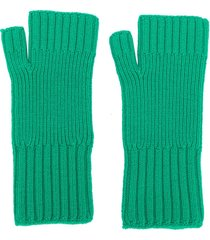ami paris fisherman's rib fingerless gloves - green