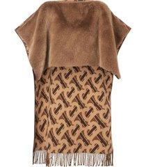 burberry monogram detail cape - brown