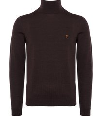 farah gosforth roll neck jumper - bordeaux f4gf6065-507