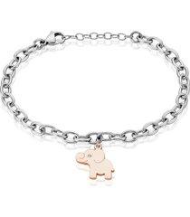 bracciale in acciaio bicolore e strass con charm elefante per donna
