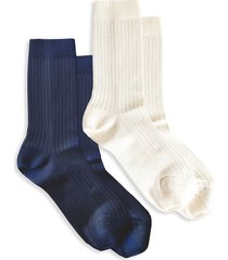stems women's silky blend rib 2 pack crew socks - navy white