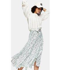idol mint floral ruffle midi skirt - mint