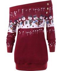 plus size christmas snowman off the shoulder sweatshirt