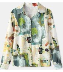 camicetta casual a maniche lunghe con bottoni con stampa a olio retrò per donna