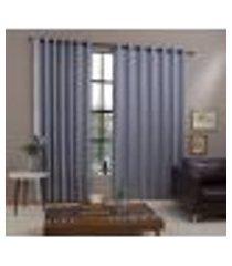 cortina amsterdam para sala e quarto 3,00m x 2,60m decorella - cinza