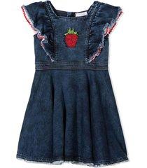 monnalisa blue denim cotton-blend dress