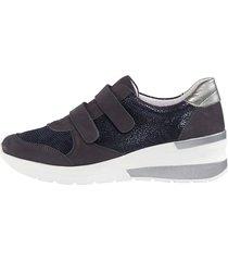 skor med kardborreband naturläufer mörkblå