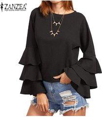 zanzea s-5xl para mujer primavera otoño camisa de manga larga sólido de bell blusas femininos señoras flojas mariposa fluncing colmena de blusas (negro) -negro