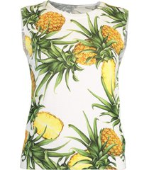 pineapple print sleeveless crewneck tank