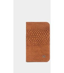 billetera vertical de cuero grabado