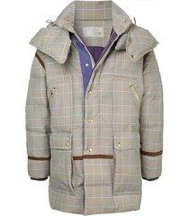 a(lefrude)e checked padded coat - grey