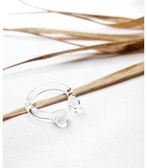 szklany pierścionek z asymetrycznymi kulkami