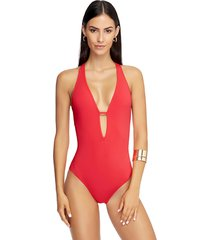 jets by jessika allen low v swimsuit coral