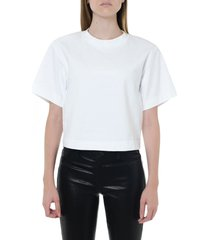 acne studios white cropped length t-shirt