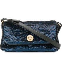 emporio armani sequin embroidered engraved logo shoulder bag - blue