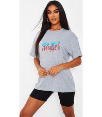 angel t-shirt met tekst en vlammen, grijs
