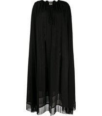 saint laurent decorative tassels crêpe cape - black