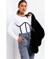 akira piper contrasting piping bodysuit