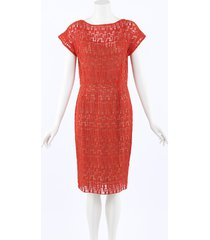lela rose crocheted silk knee length dress orange sz: m