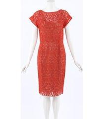 lela rose crocheted silk knee length dress