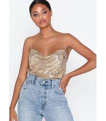 nly trend draped sequin singlet linnen