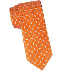 bunny-print silk tie