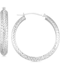 textured hoop earrings in 10k yellow gold, rose gold or white gold