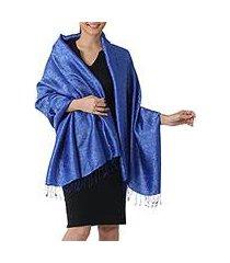 rayon and silk blend shawl, 'mandarin royal' (thailand)