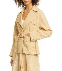 women's vince belted linen blend jacket, size x-large - brown