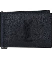 saint laurent classic logo plaque bifold wallet