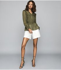 reiss alandra - semi-sheer ruffled top in khaki, womens, size 14