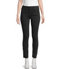 driftwood women's jackie studded skinny-fit jeans - black - size 24 (0)