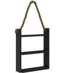 nicho decorativo 500x600x145 mm c/ corda preto movelbento - preto - dafiti