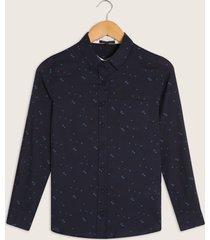 blusa estampada, con bolsillo , manga larga azul oscuro xl