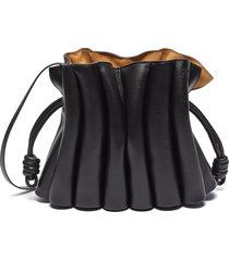 'flamenco ondas' pleated drawstring leather clutch