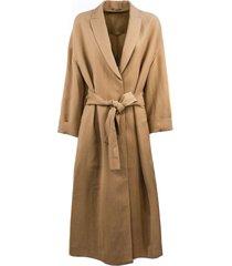 brunello cucinelli camel linen-silk blend coat