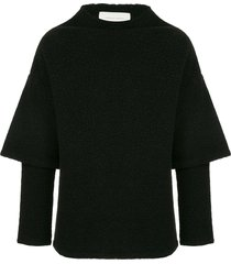 strateas carlucci hybrid oversized short sleeve sweater - black