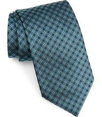 men's ermenegildo zegna geometric silk tie, size large - blue/green