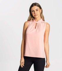blusa regata crepe feminina endless rosa - rosa - feminino - dafiti