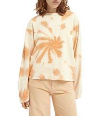 women's scotch & soda tie dye organic cotton sweatshirt, size small - orange